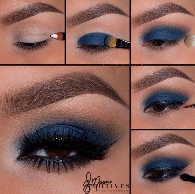 maquillaje de día-noche-color-azul-negro-ideas