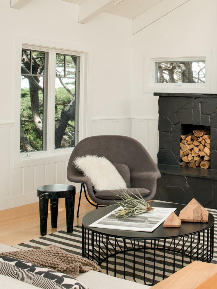 salon-escandinavo muebles-negros