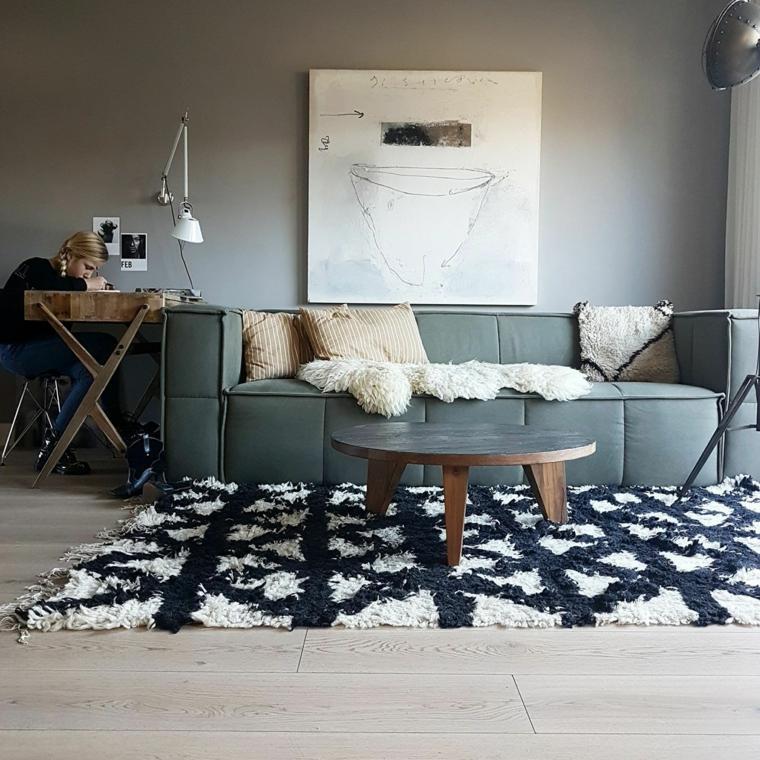 salón estilo escandinavo-ideas-alfombra