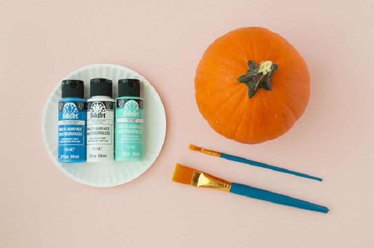Calabazas de halloween pintadas pintar-ojos-ideas