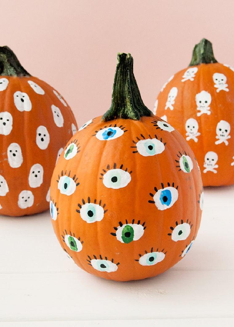 Calabazas de halloween pintadas -pintar-ojos
