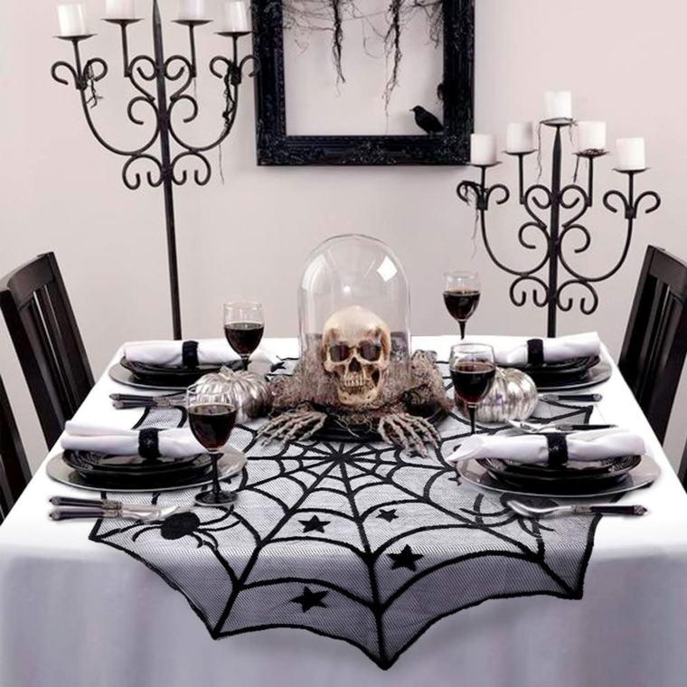 Centros de mesa de Halloween-blanco-negro