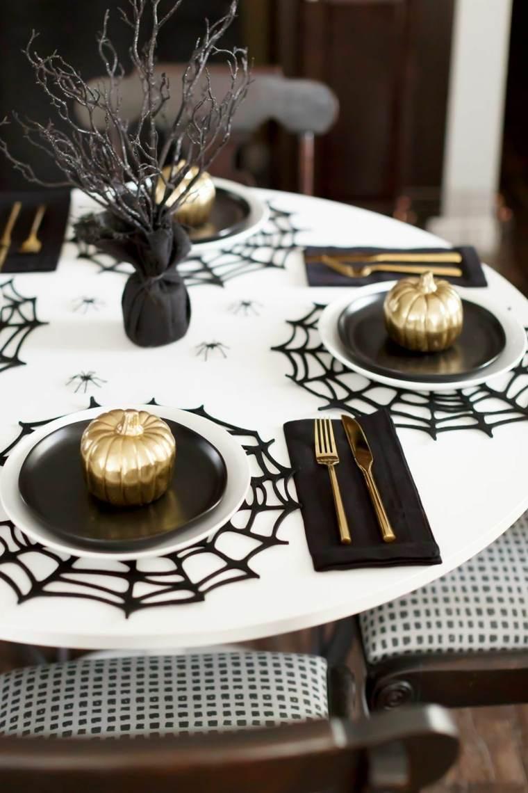 Centros de mesa de Halloween-estilo-moiderno-blanco-dorado