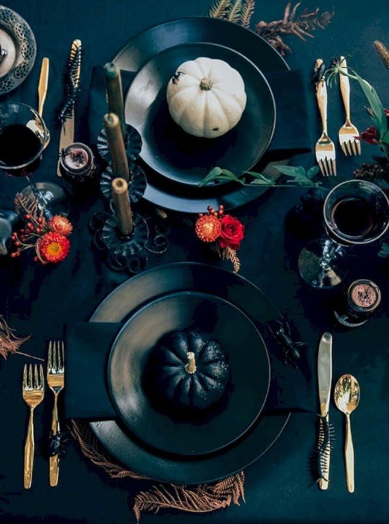 Centros-de-mesa-de-Halloween-platos-calabazas
