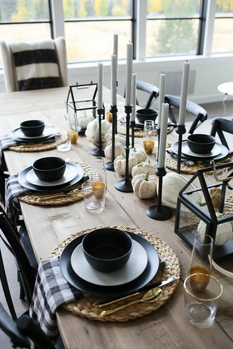 Centros-de-mesa-de-Halloween-platos-negros