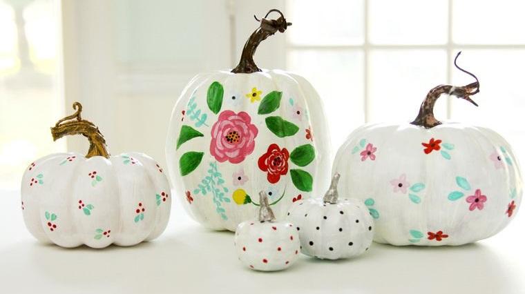 calabazas decoradas flores