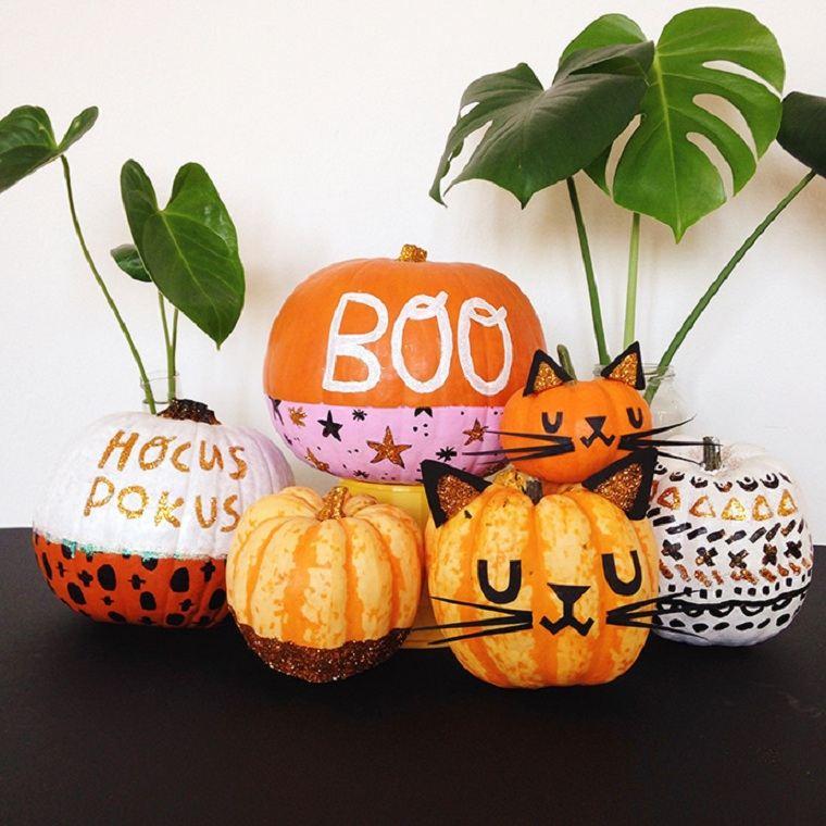 Calabazas de halloween pintadas =calabazas-diseno-manualidades