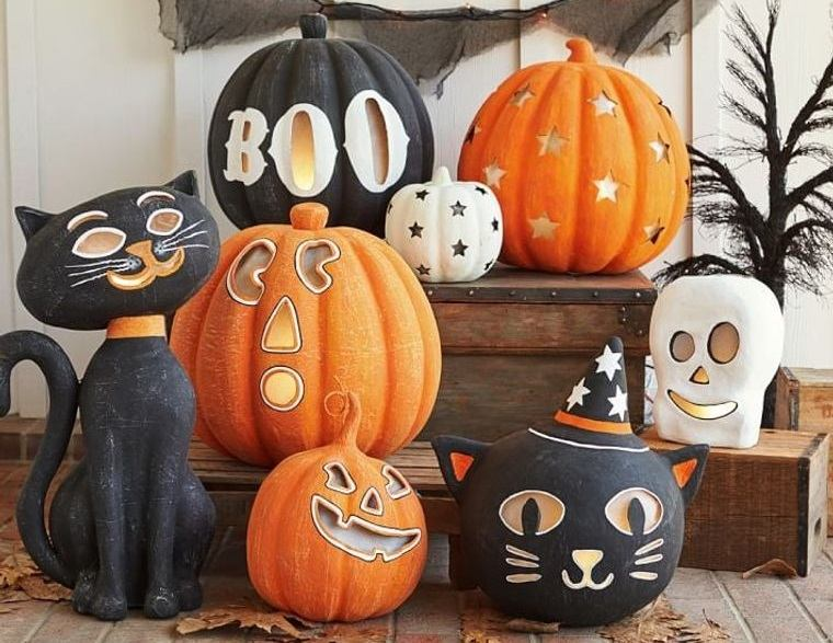 colores alegres decoracion halloween gatos