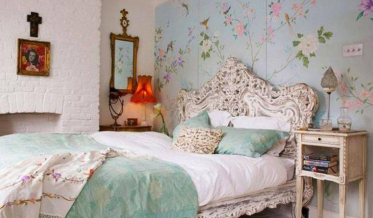 decoración vintage chimenea dormitorio