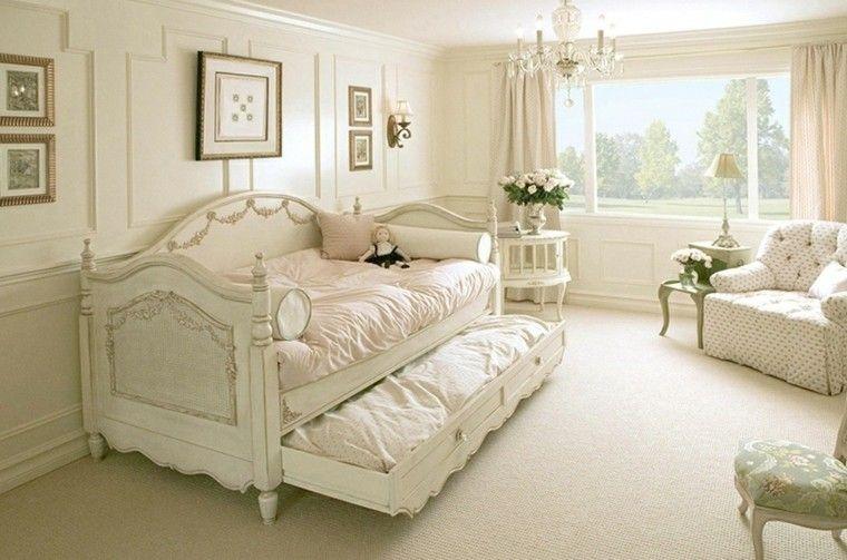 decoración vintage con doble cama
