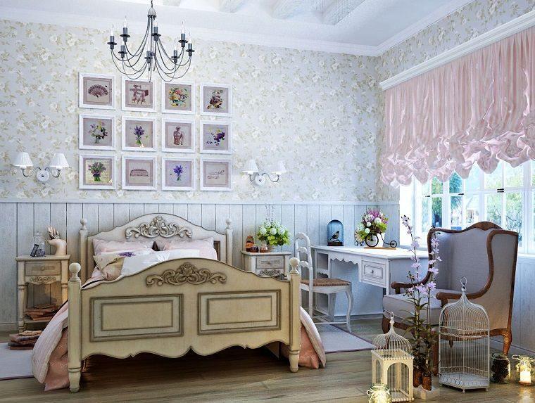 decoración vintage dormitorio amplio
