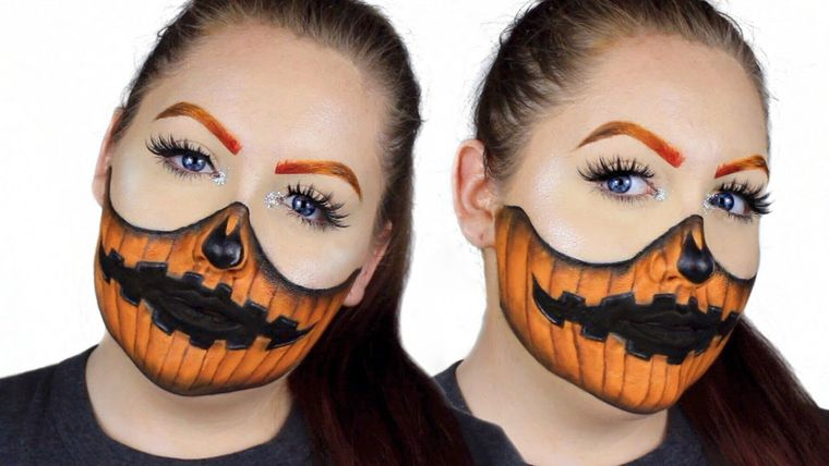 maquillaje original linterna calabaza halloween