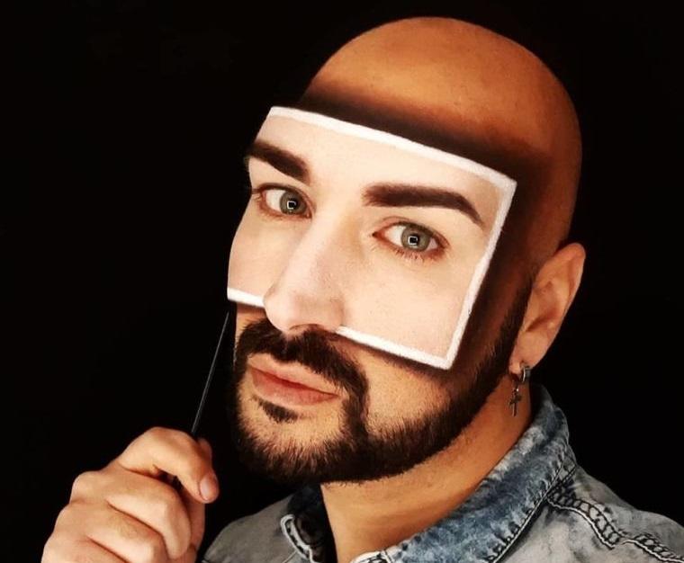 maquillaje para hombre ilusion optica