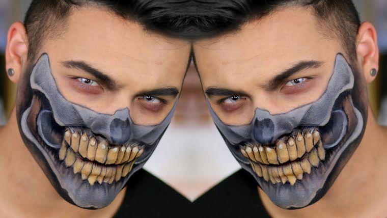 maquillaje para hombre mitad calavera