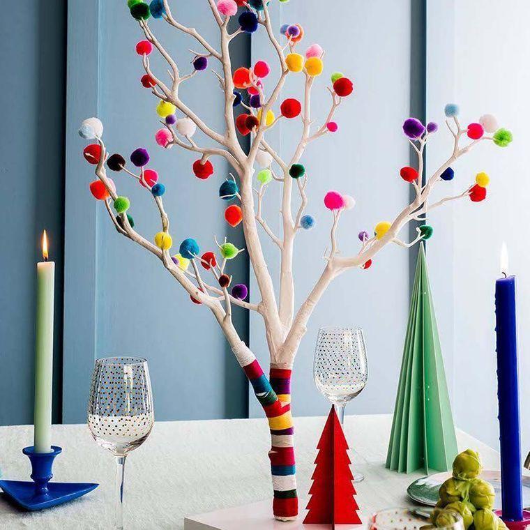 pompones centro de mesa navidad