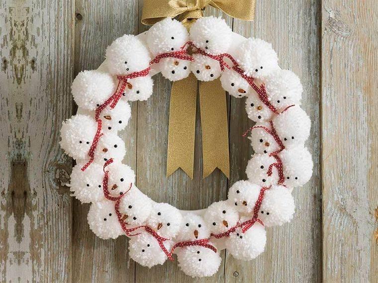 pompones corona muñeco nieve