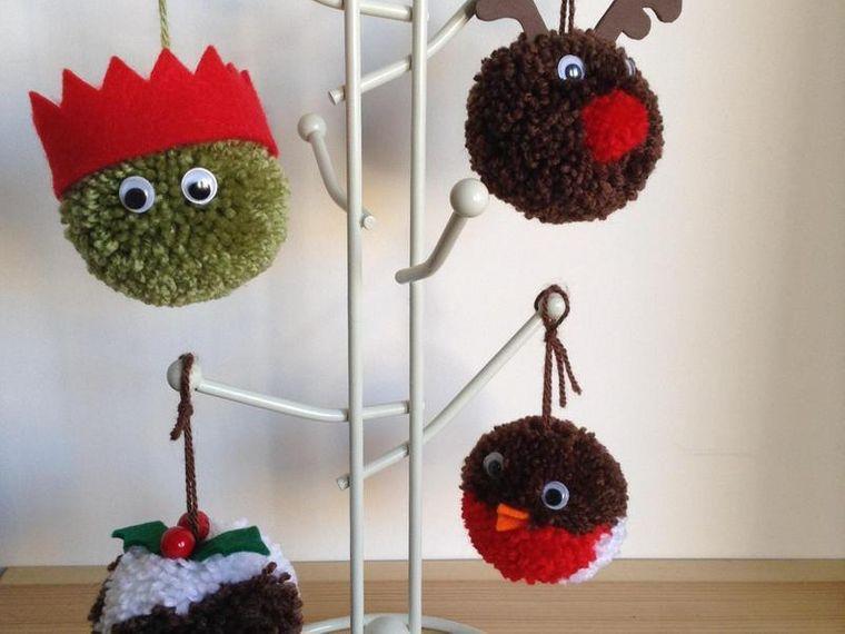pompones decoracion navidad