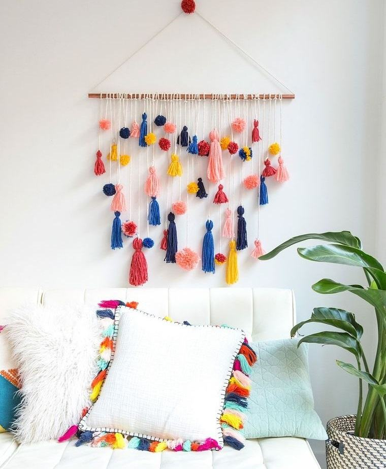 pompones decoracion pared