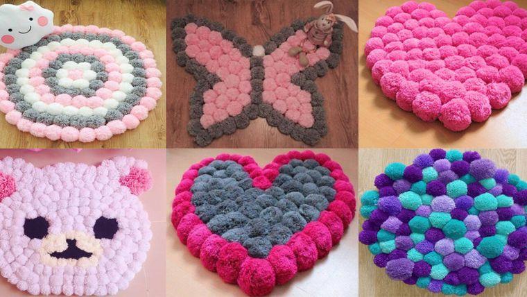pompones diseño alfombras