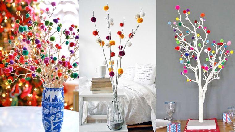pompones en florero