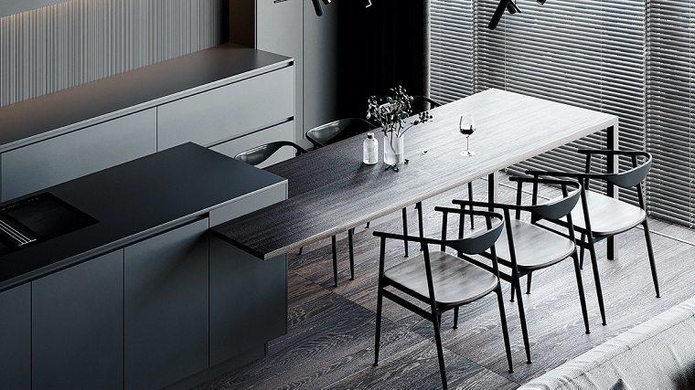 cocina-contemporanea-negra-mesa-madera