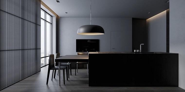 cocina-moderna-color-oscuro-isla-negra