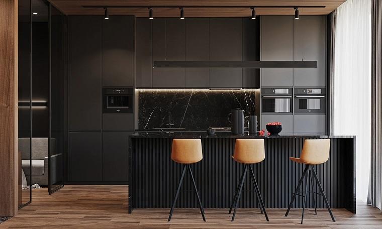 cocina-negro-gris-sillones
