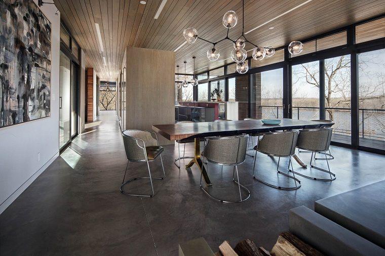color-gris-comedor-amplio-mesa-grande-ideas