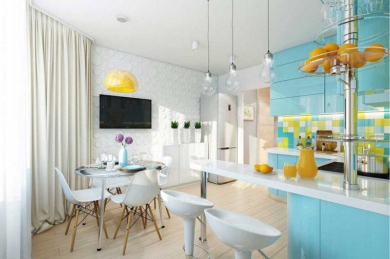 Colores de muebles de cocina azul'marino