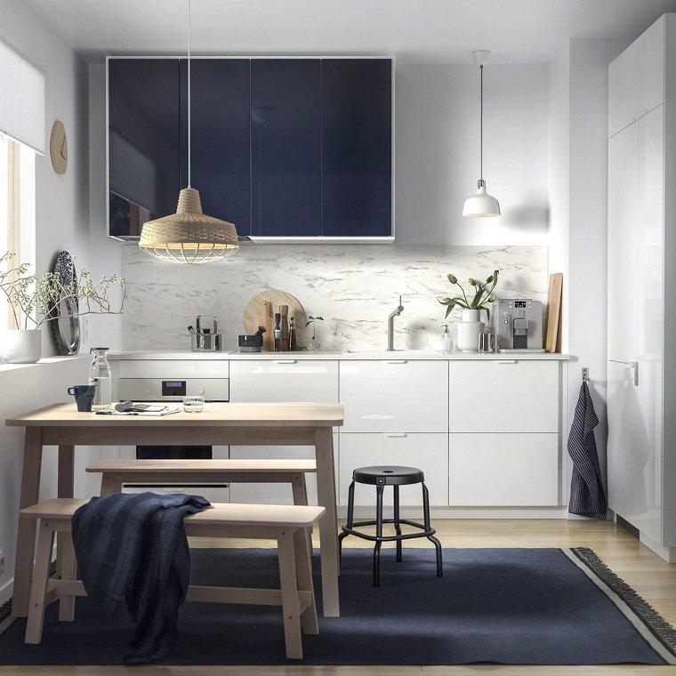 Colores de muebles de cocina blanca-azul