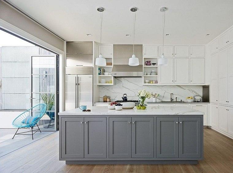 Colores de muebles de cocina blanco gris
