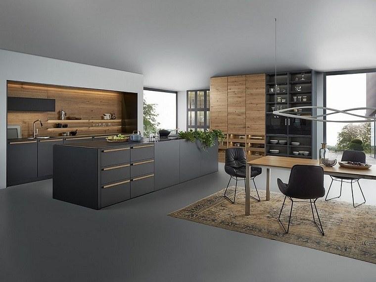 colores-de-muebles-de-cocina-gris-oscuro-madera