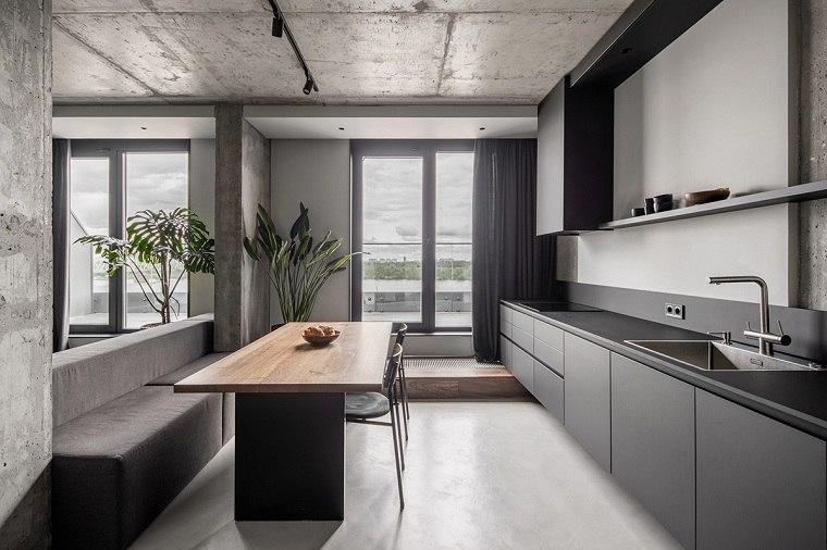 Cuartos gris con negro -cocina-disenos