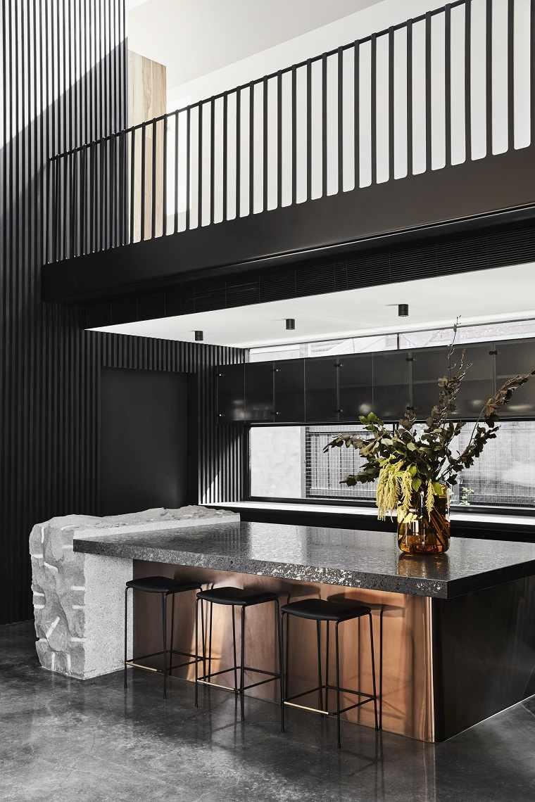 Cuartos gris con negro -cocina-isla