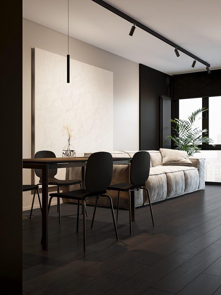 Cuartos gris con negro comedor-salon