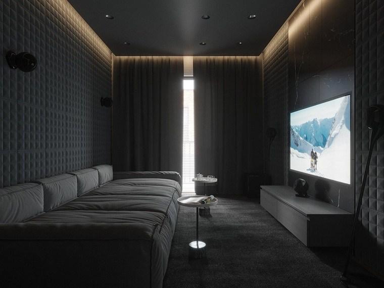 Cuartos gris con negro cortinas