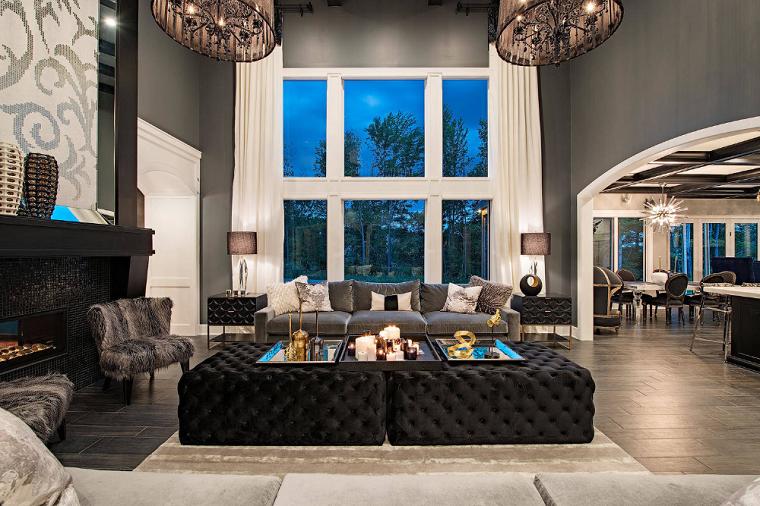 Cuartos gris con negro muebles