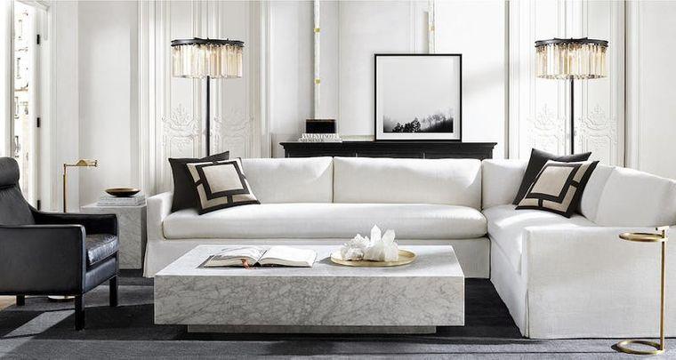 decoración moderna mesa marmol