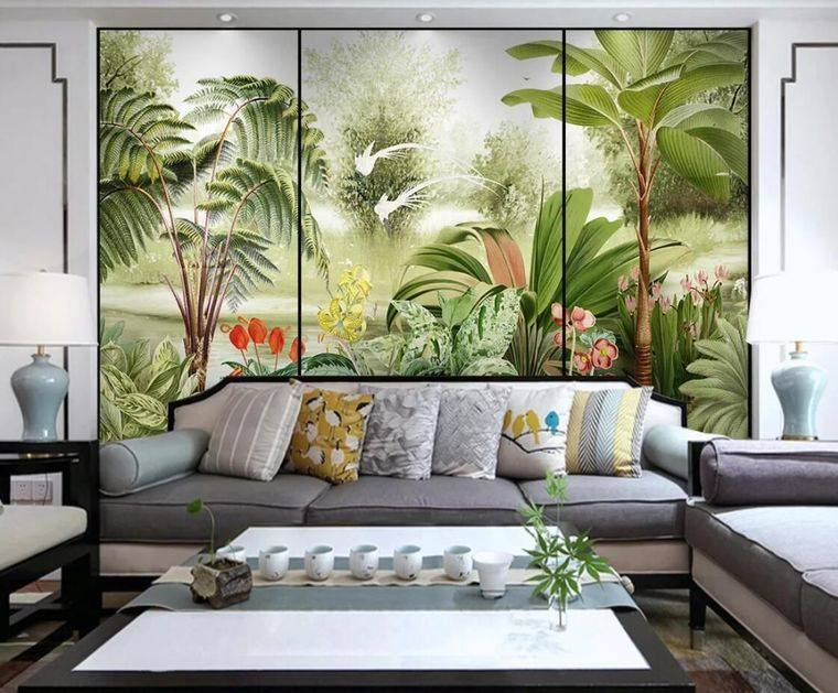 decoración moderna papel tapiz plantas