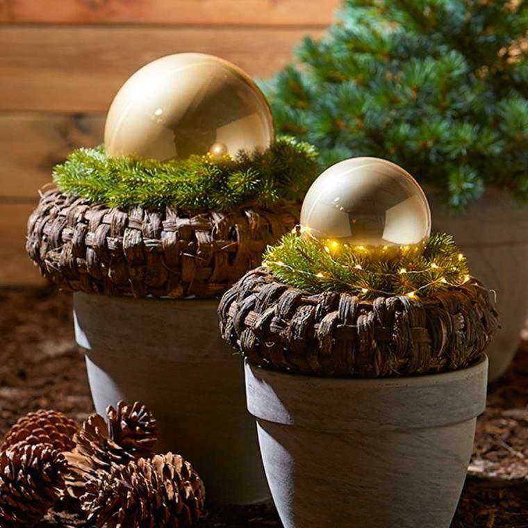 decoración original bolas en maceta