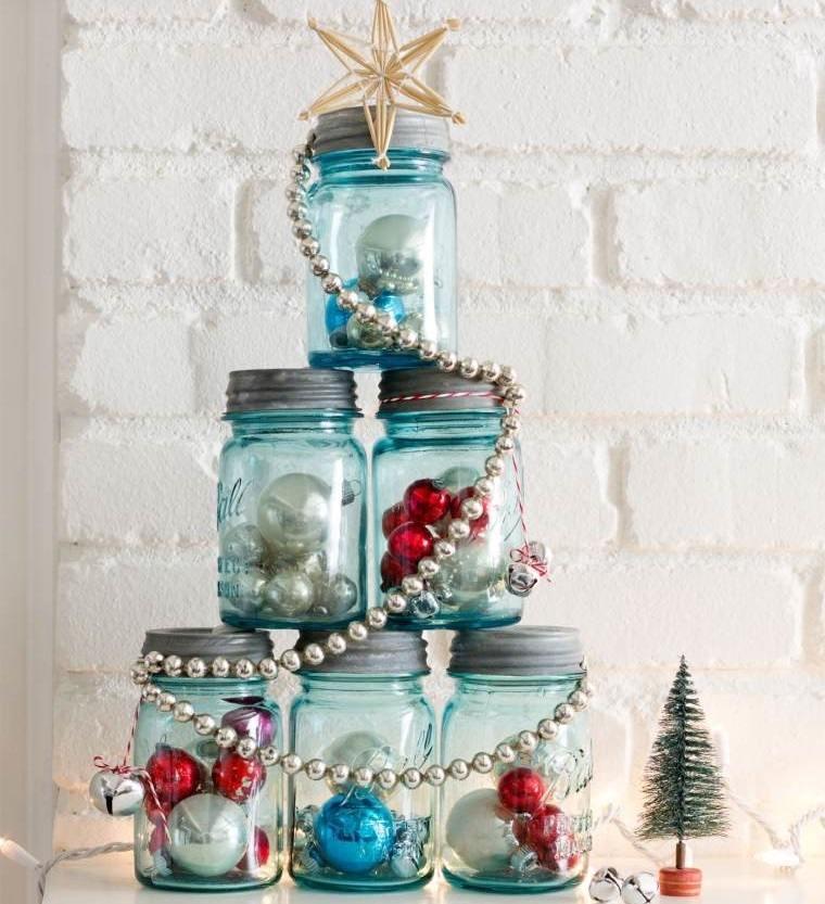 decoración original bolas navideñas en tarros