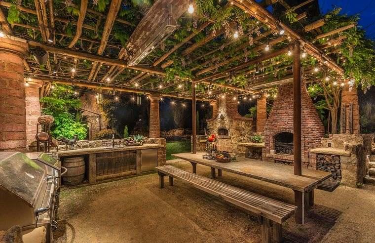 decoración rústica patio elegante