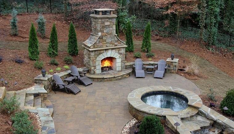 decoración rústica patio natural