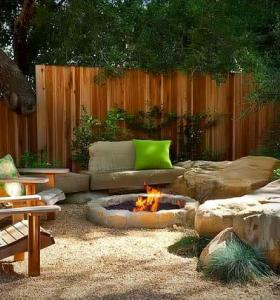 decoración rústica patio trasero