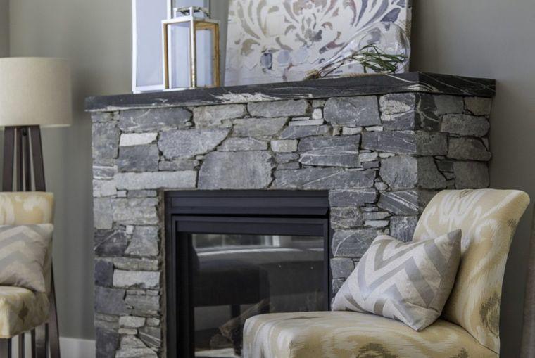 decorcaión moderna chimenea piedra