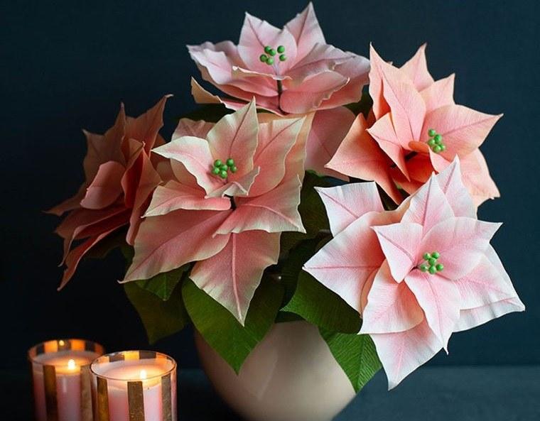 detalles navideños bricolaje flor de papel