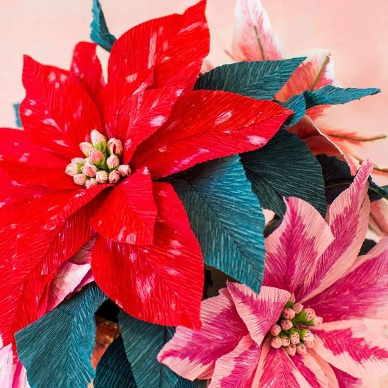 detalles navideños bricolaje flor papel crepe