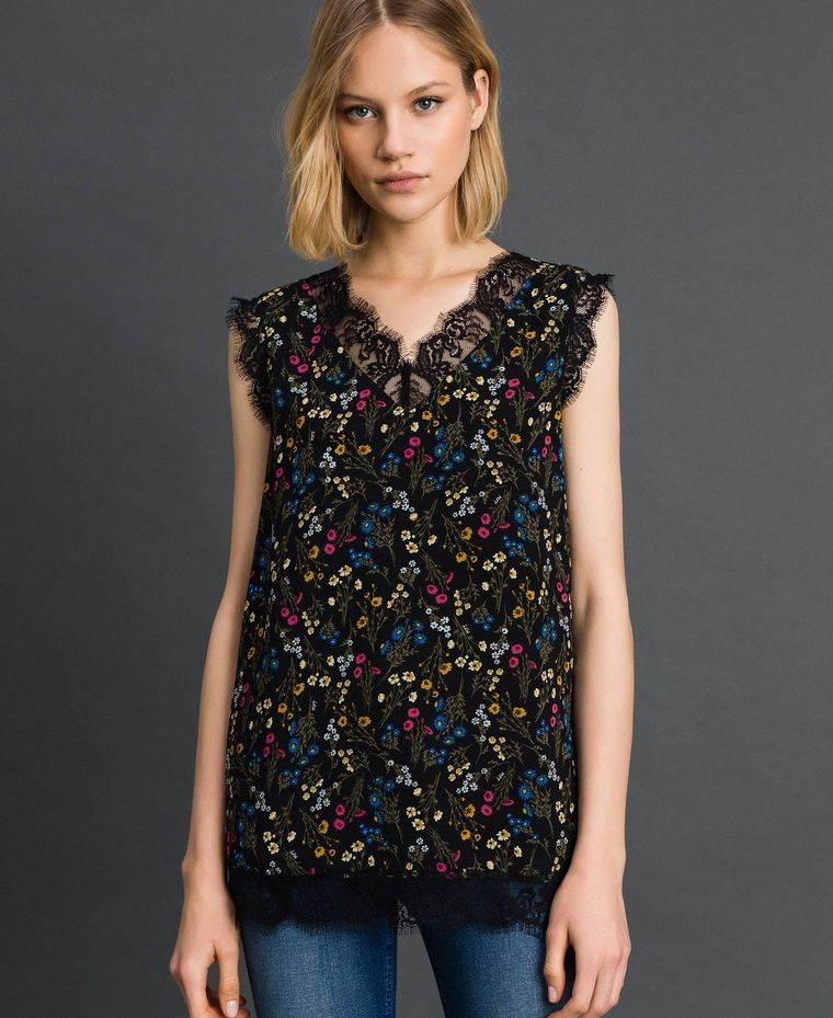 diseño floral blusa