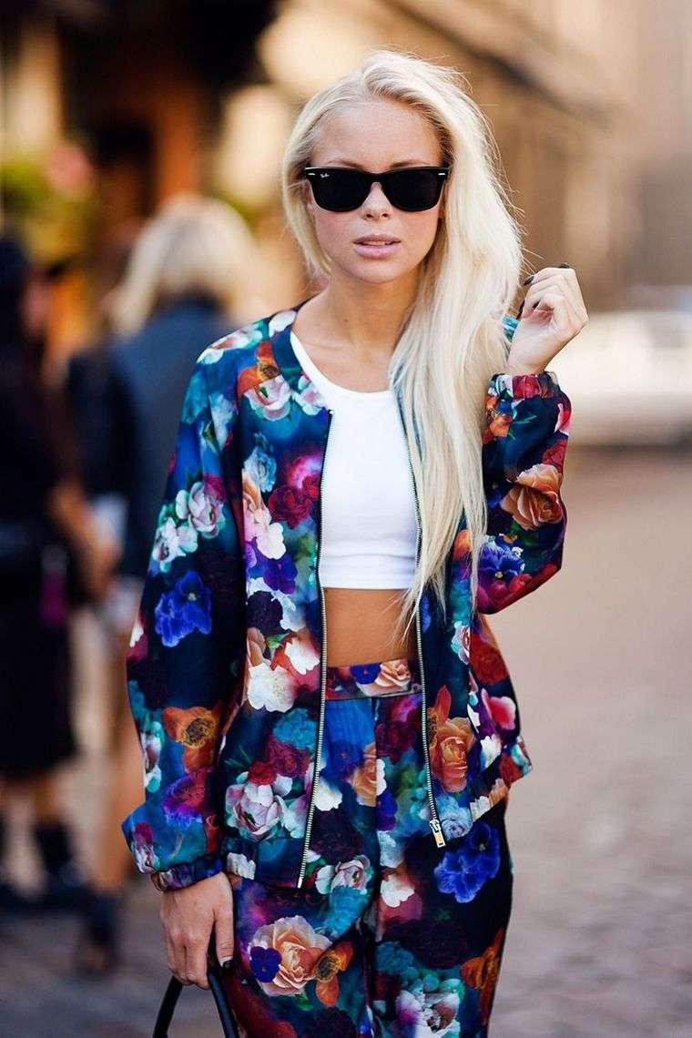 diseño floral chaqueta pantalon