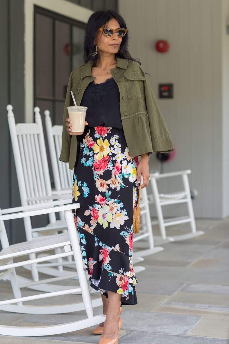 diseño floral falda